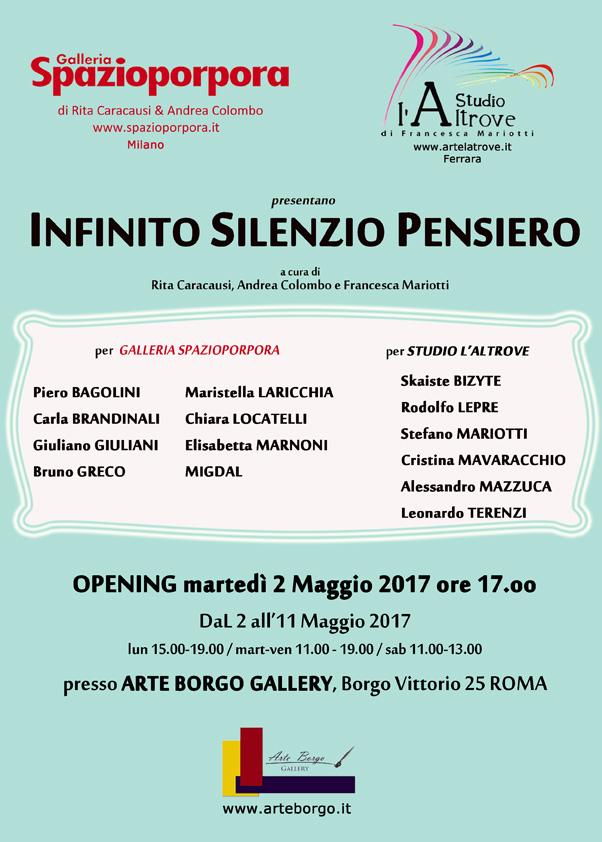 Infinito Silenzio Pensiero Infinito Silenzio Pensiero Galleria Spazioporpora è anche a Roma DNheArt